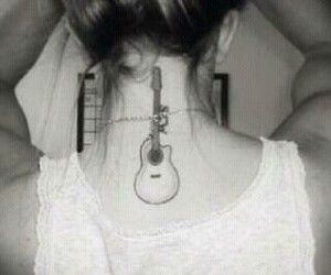 tattoo, girl, and guitar image
