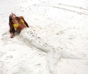 beach, mermaid, and girl image