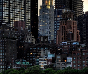 city, new york, and light image