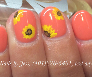 nail art, nails, and sunflower image