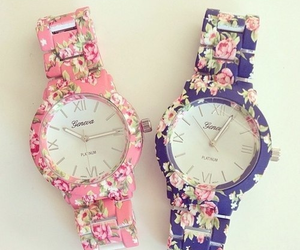 watch, pink, and flowers image