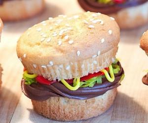 cupcake, burger, and food image