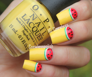 nails, watermelon, and yellow image