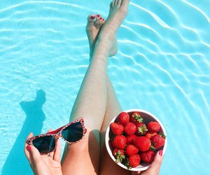 strawberry, pool, and summer image