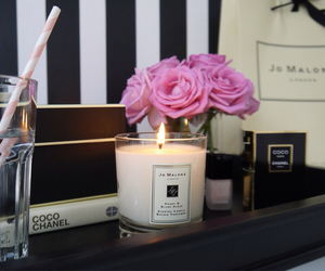 candle, chanel, and flowers image