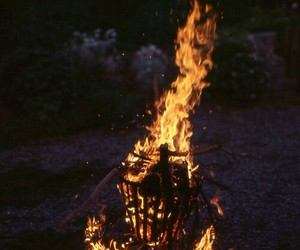 fire, night, and vintage image