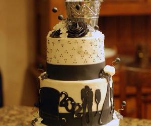 black, cake, and wedding image