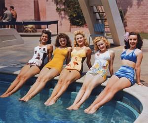 vintage, girl, and pool image