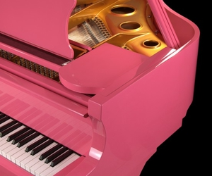 pink, piano, and music image