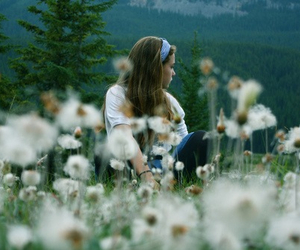 girl, flowers, and alone image