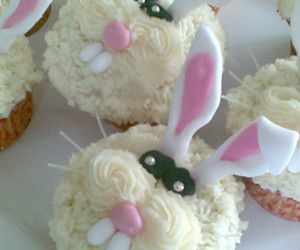 bunny, cupcakes, and food image