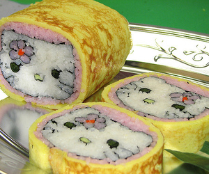 sushi, hello kitty, and pink image
