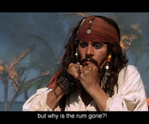 jack sparrow, johnny depp, and rum image