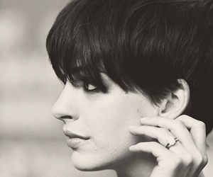 Anne Hathaway, beautiful, and black and white image