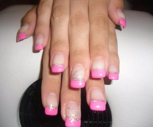 pink nails, sparkle, and french manicure image