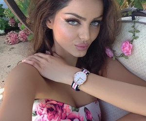 brunette, flowers, and lips image