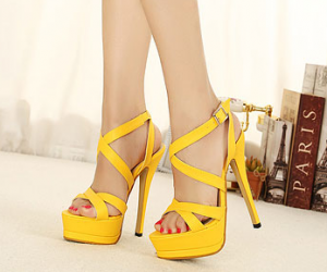 fashion, high heels, and yellow image