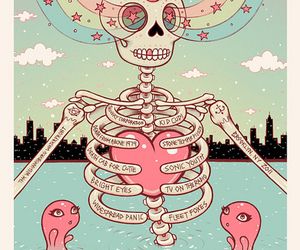skeleton, skull, and rainbow image