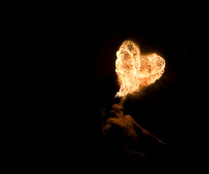 heart, fire, and boy image