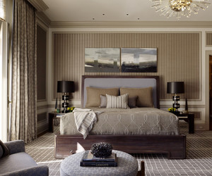 bedroom., neutral tone, and dark wooden tone image