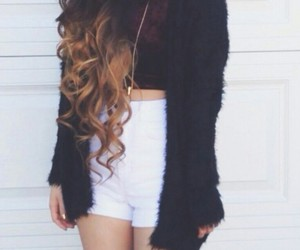 knee high socks, necklaces, and white high waisted shorts image