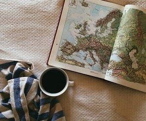 coffee, travel, and map image