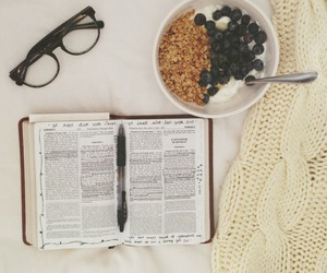 book, glasses, and breakfast image