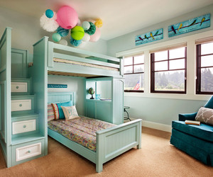 room design, good mood, and turquoise bedroom image