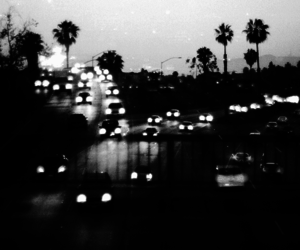 car, city, and black and white image