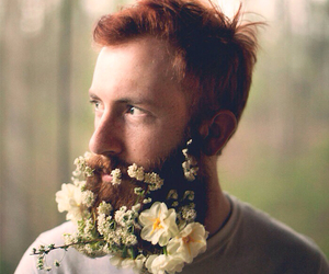 flowers, beard, and man image