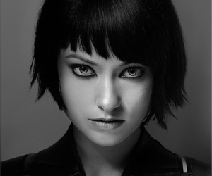 asymmetrical, hair, and black and white image