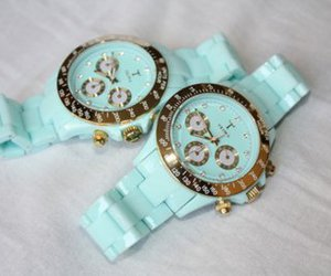 watch, blue, and gold image