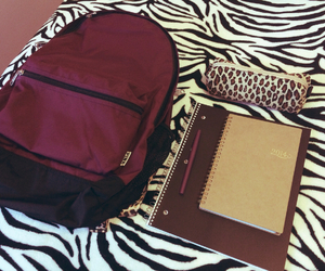 backpack, leopard, and notebook image