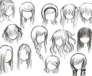 hair, anime, and drawing image