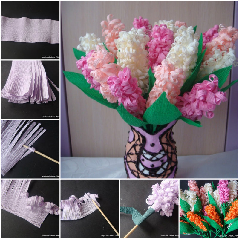 How To DIY Beautiful Crepe Paper Hyacinth Flower Bouquet