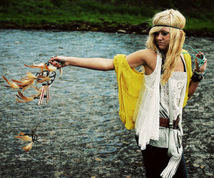 girl, blonde, and water image