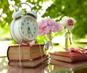 book, clock, and flores image