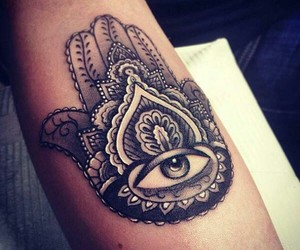 tattoo, eye, and hand image
