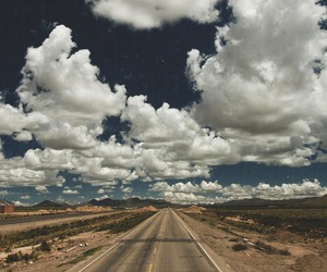 clouds, road, and sky image