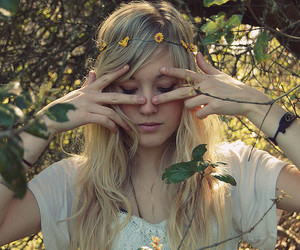 girl, blonde, and flower image