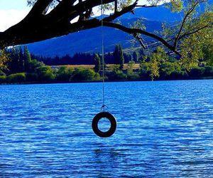 summer, lake, and swing image
