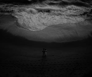 beach, couple, and sea image