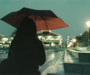girl, umbrella, and rain image