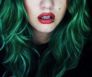 hair, piercing, and green image