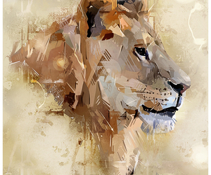 illustration, lion, and vector image