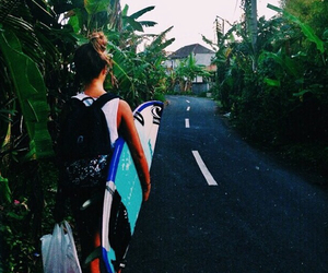 girl, ocean, and surf image