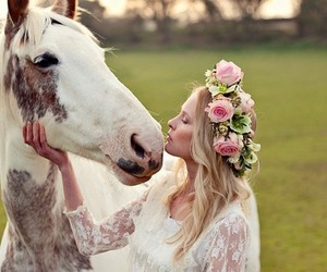 horse, flowers, and white image