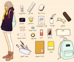 school, bag, and anime image