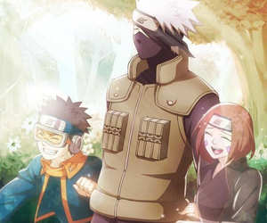 naruto, kakashi, and obito image