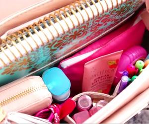 bag, organization, and pink image